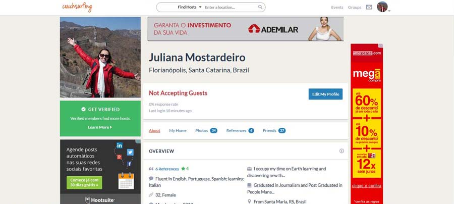 Perfil no Couchsurfing